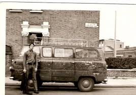 The Graffiti'd tour van of The Who, with Tour Manager Richard Cole